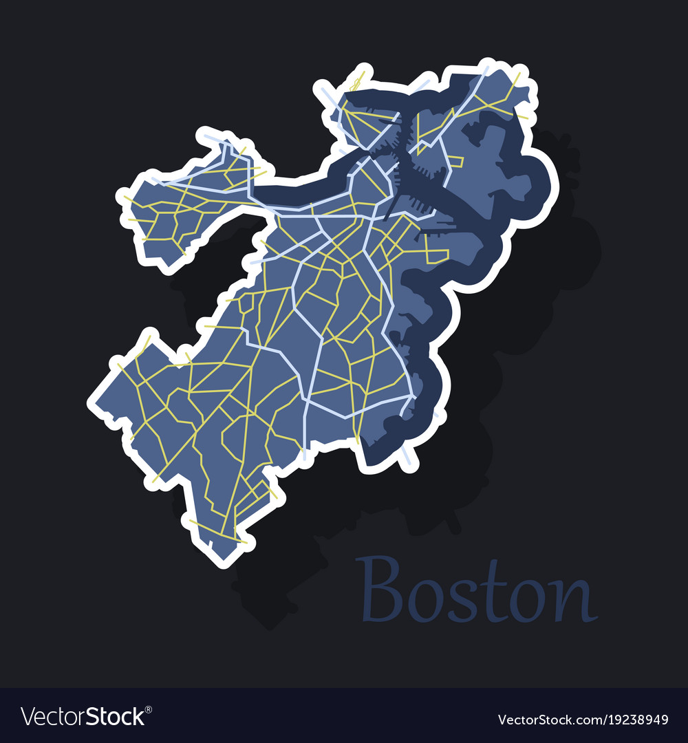 Map of boston city sticker royalty free vector image map of boston city sticker vector image gumiabroncs Images