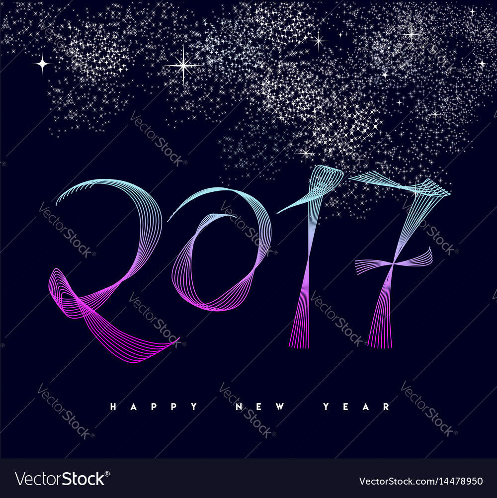 Happy new year 2017 modern numbers greeting card vector image