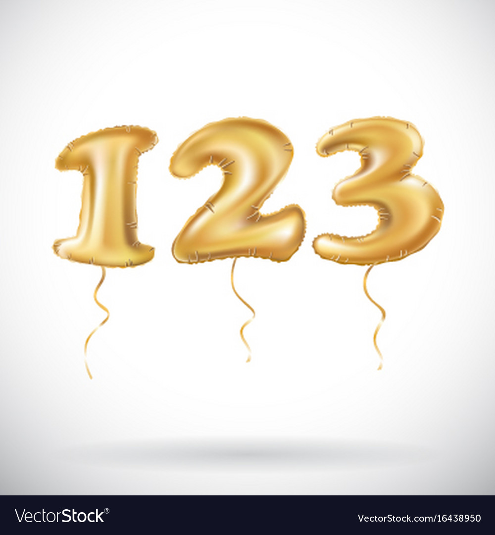 One two three golden numbers made of inflatable vector image