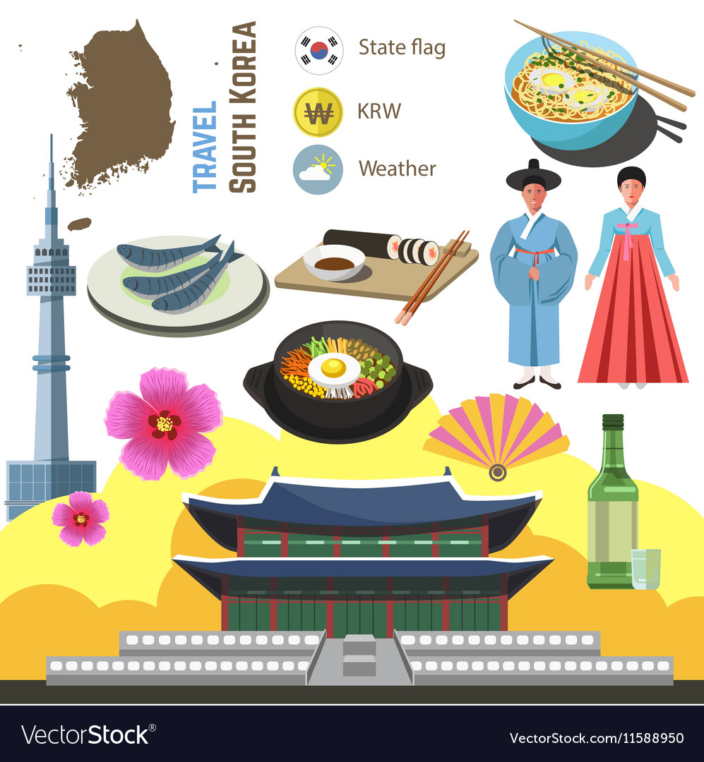 South korea culture symbol set travel seoul vector image biocorpaavc Image collections