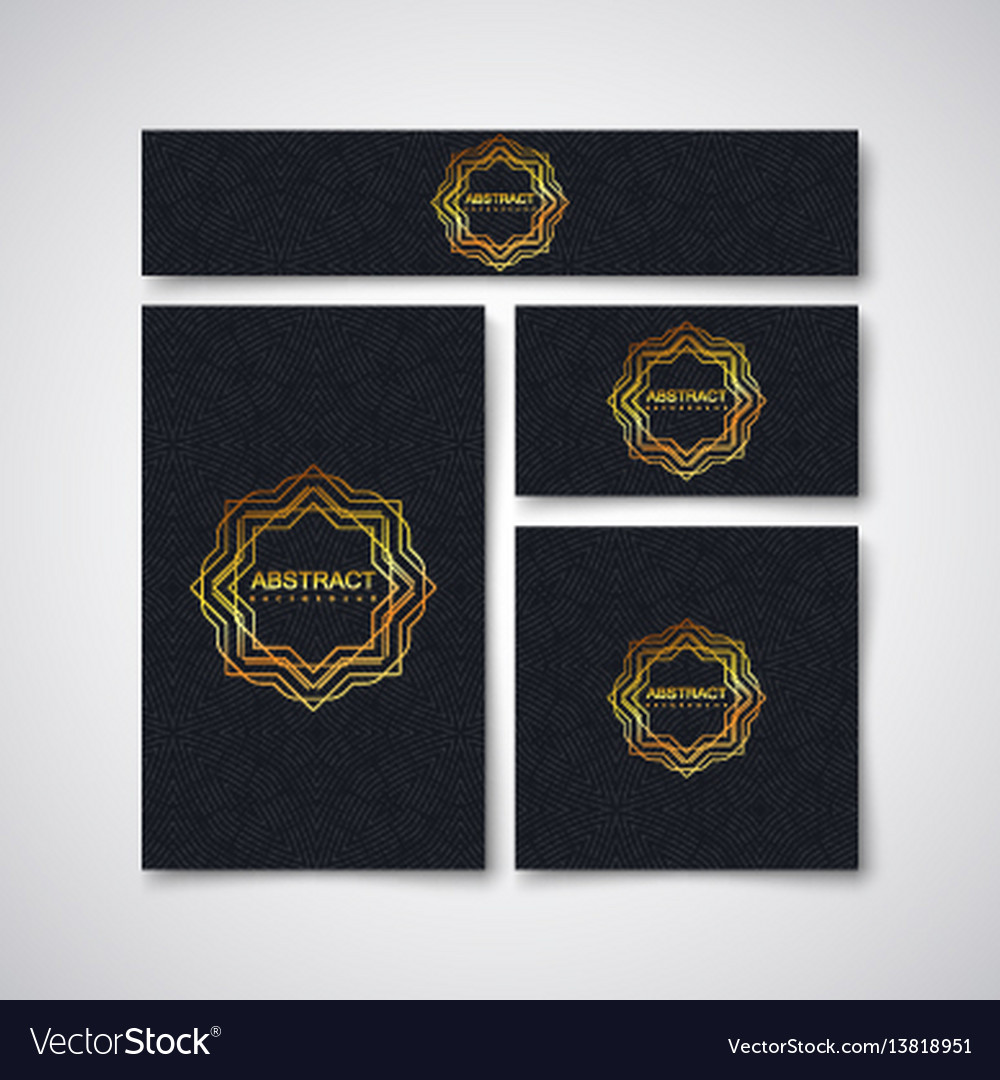 Black business stationery design template vector image