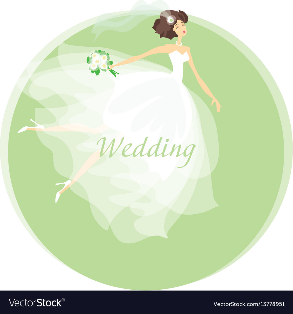 Bride wedding dress concept spring pastel color vector image