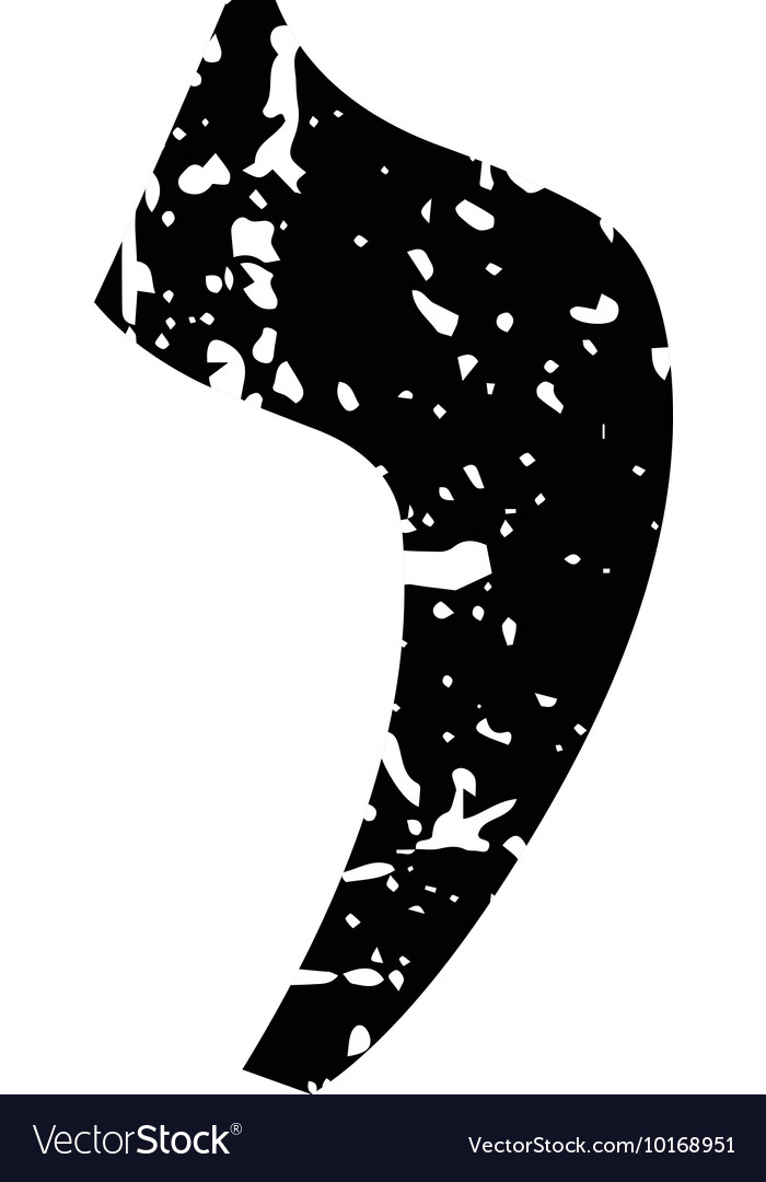 Hebrew letter Yod Shabby black font The Hebrew vector image