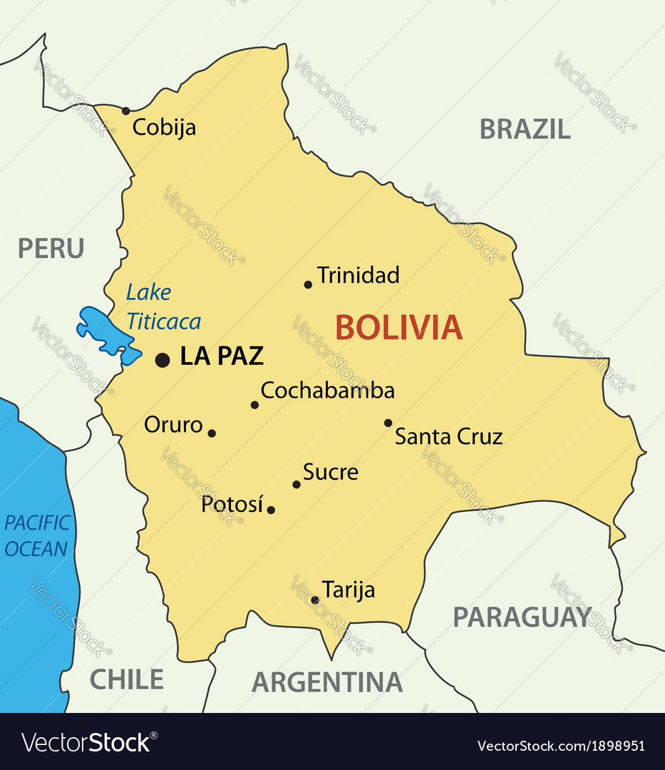 Plurinational State Of Bolivia Map Royalty Free Vector - Bolivia map