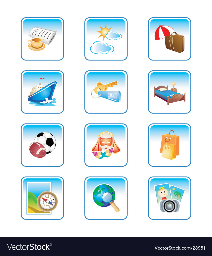 Vacation icons complex series vector image