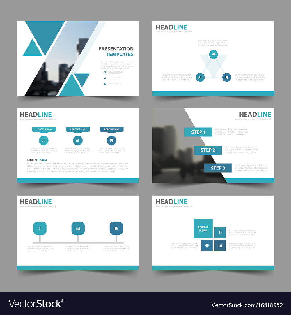 Blue triangle presentation templates infographic vector image