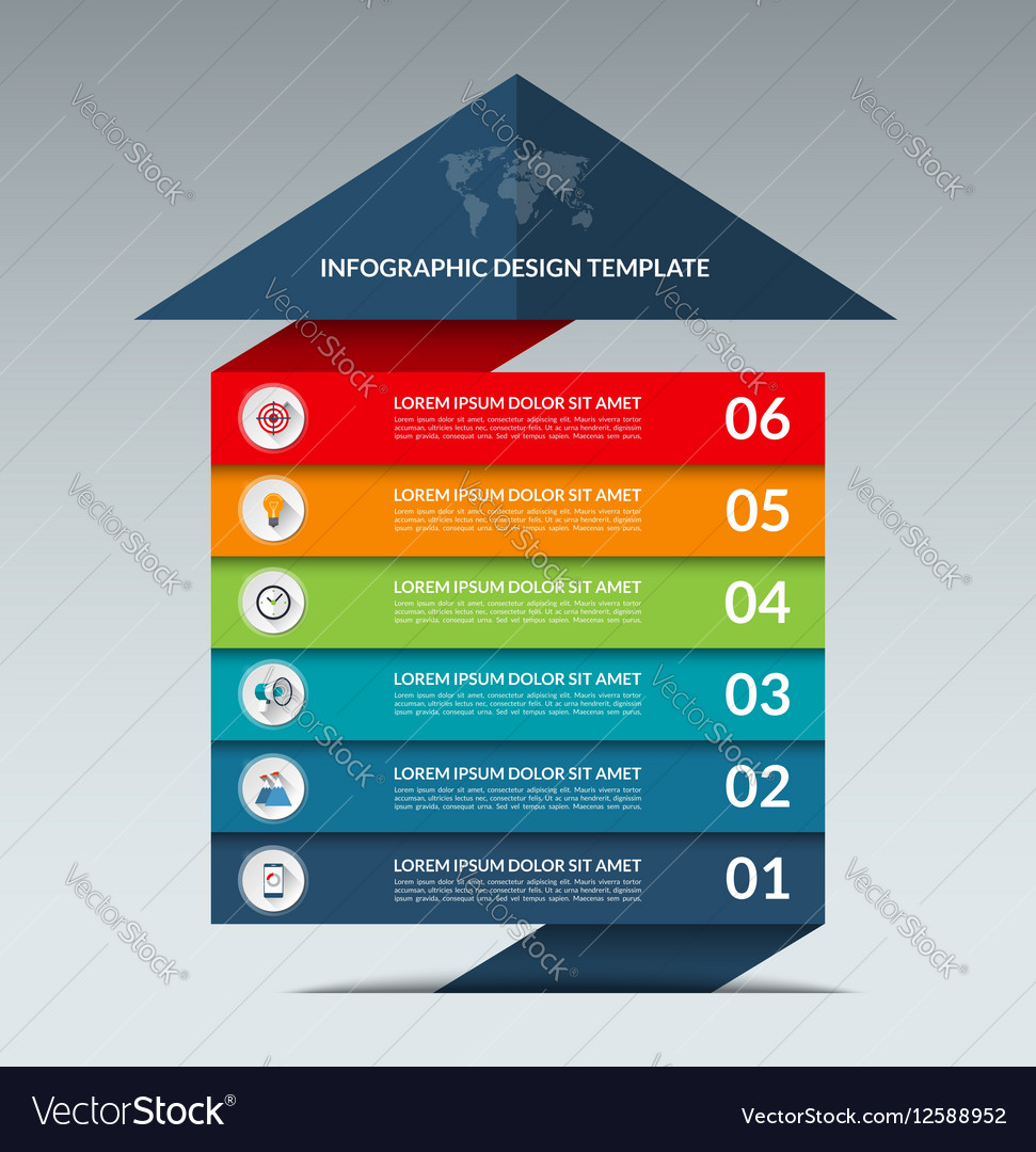 Infographic arrow design template with 6 options vector image