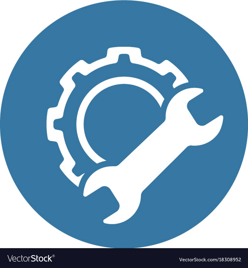 manufacturing icon gear and wrench service vector image vector email icon free vector icon mail flat