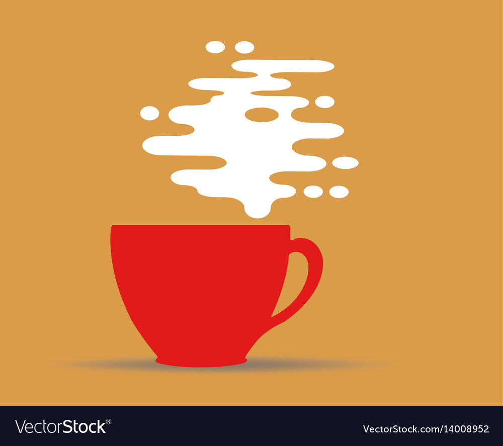 Steaming coffee cup design on yellow background vector image