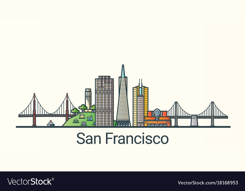 Flat line san francisco banner vector image