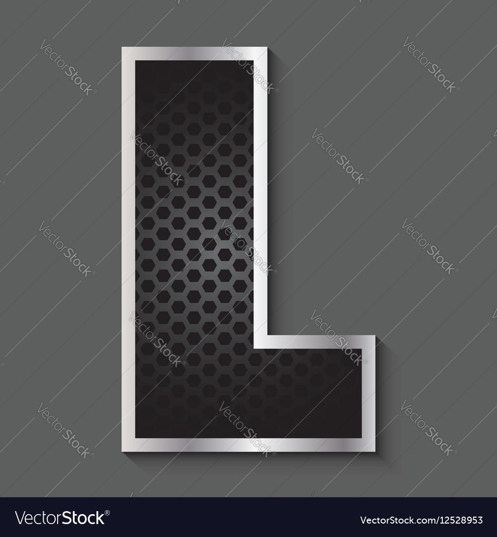 Metal grid font - letter L vector image