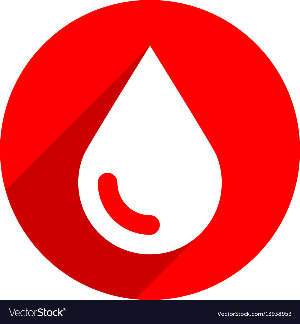 White blood drop sign circle icon vector image