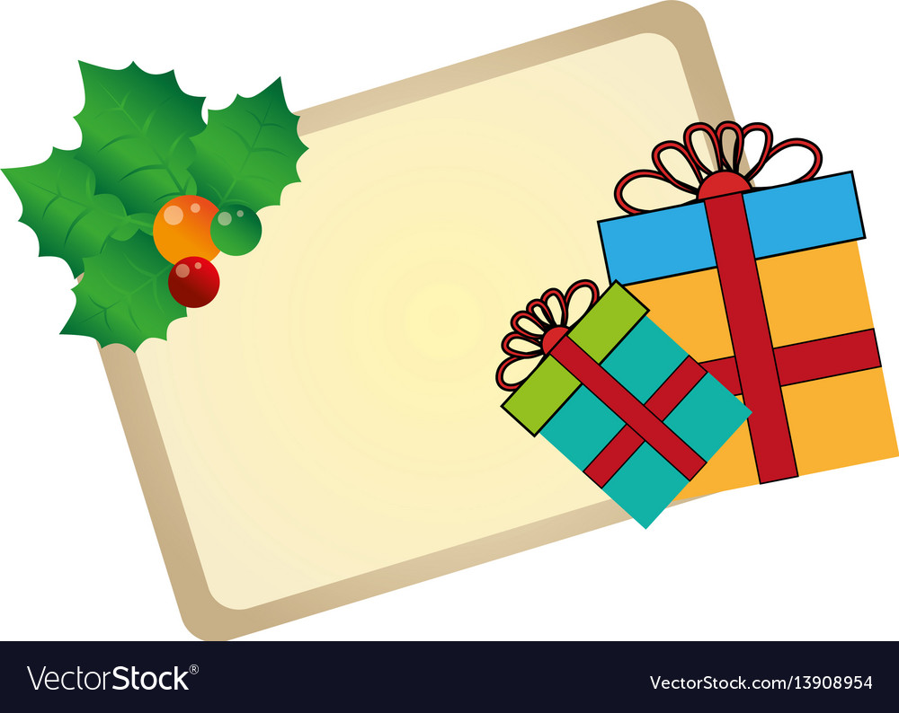 Color christmas card with holly and gift box vector image