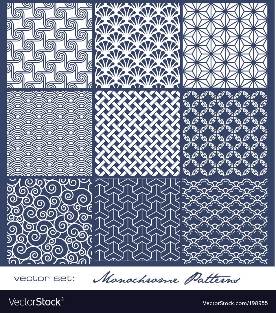 Monochrome tile patterns vector image