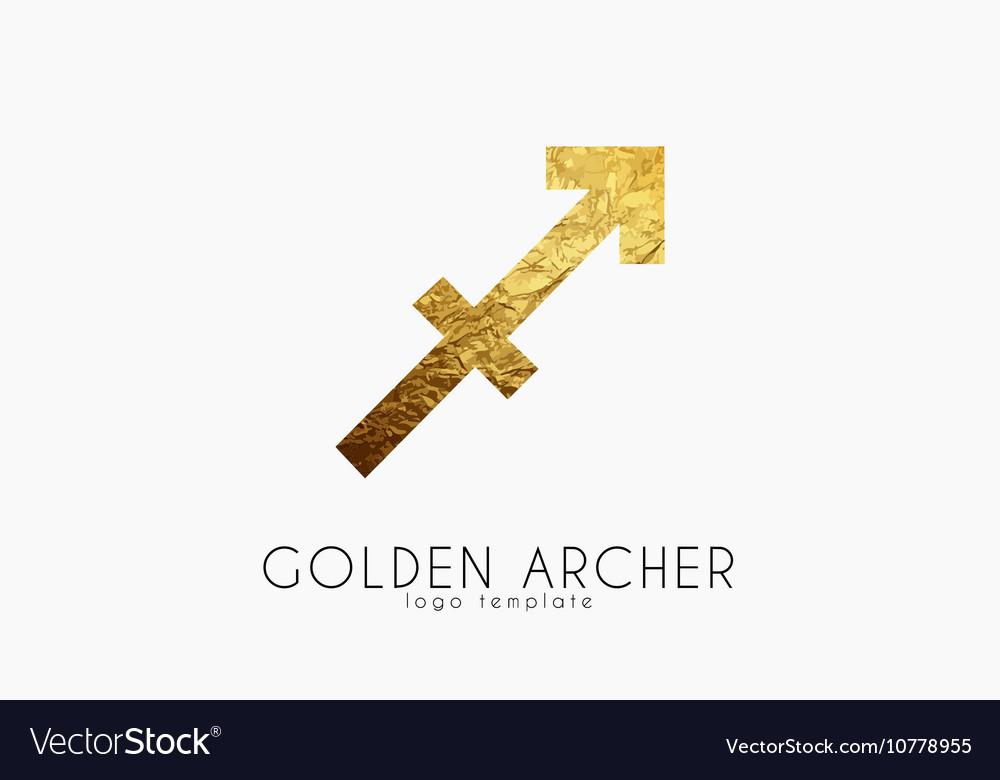 Golden archer Golden zodiac sign Archer zodiac vector image