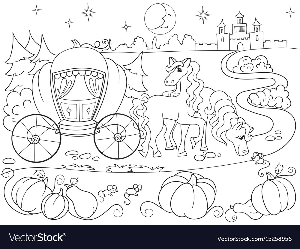 Cinderella fairy tale coloring book for children Vector Image