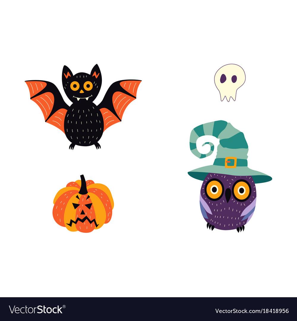 Flat halloween symbols set Royalty Free Vector Image