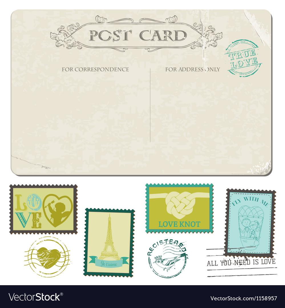 Vintage Postcard and Postage Stamps vector image