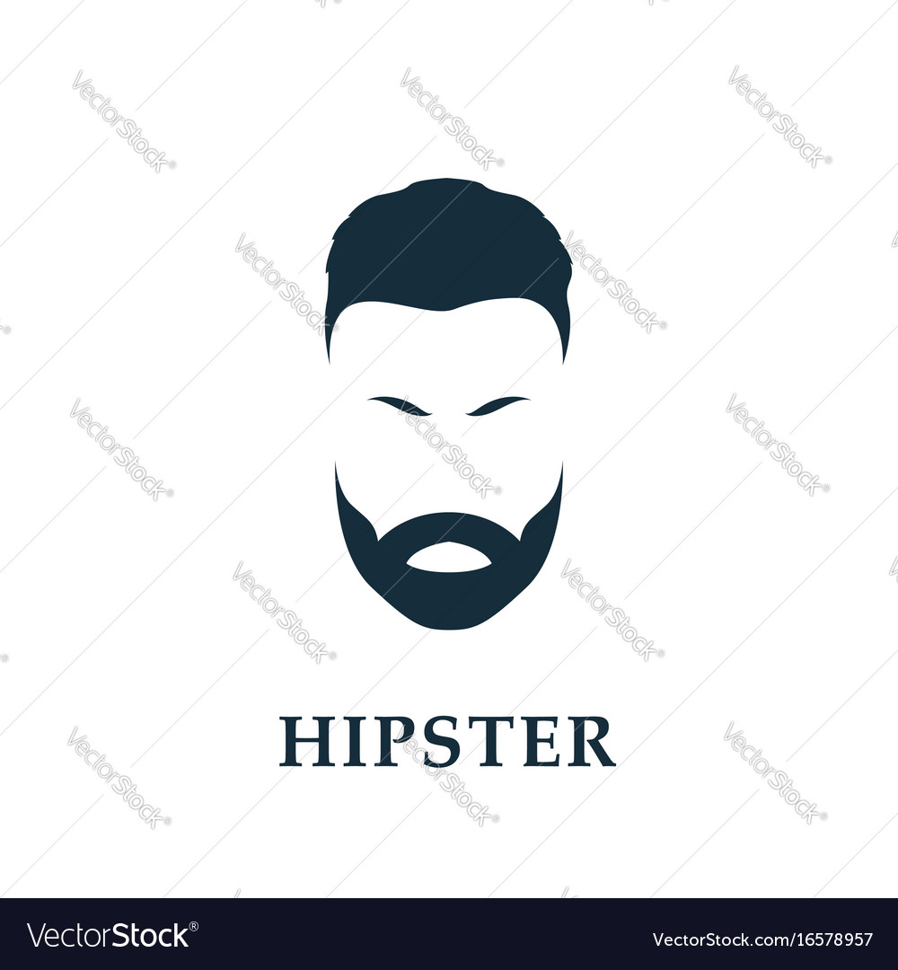Hipster portrait with isolated vector image