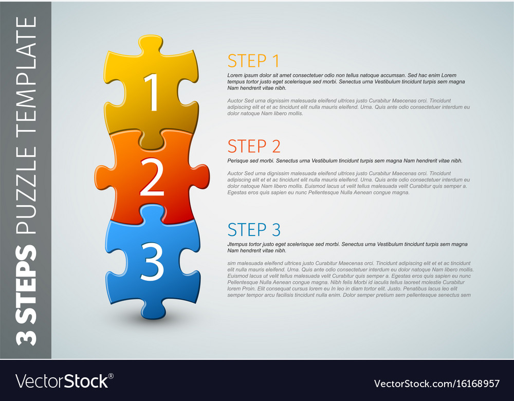 Three steps puzzle template vector image