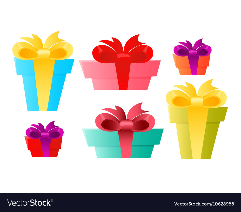 Set gift box vector image