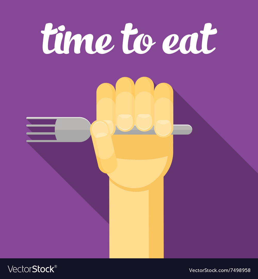 Time to eat food Hand with a fork eating vector image