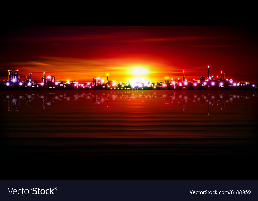 Abstract red sunset background with silhouette of vector image