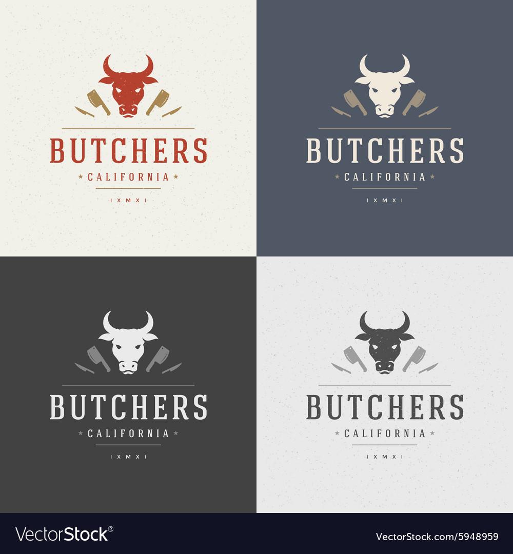 Butcher Shop Design Element in Vintage Style for vector image