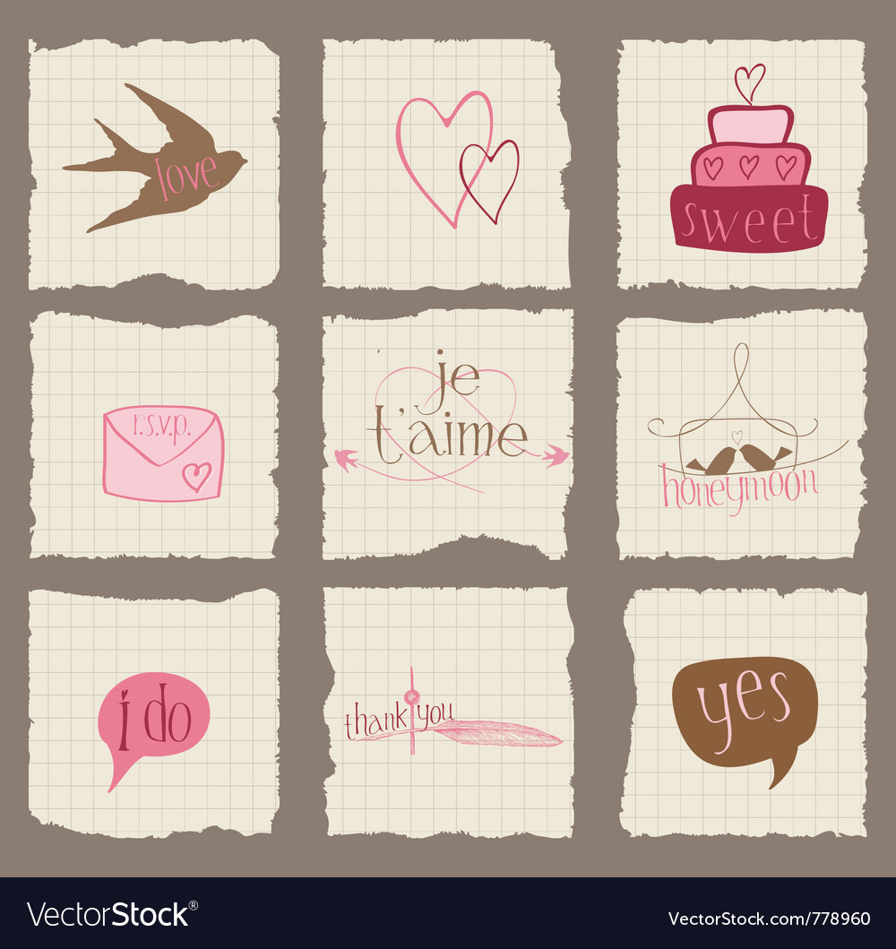 Paper love and wedding design elements -for invita vector image
