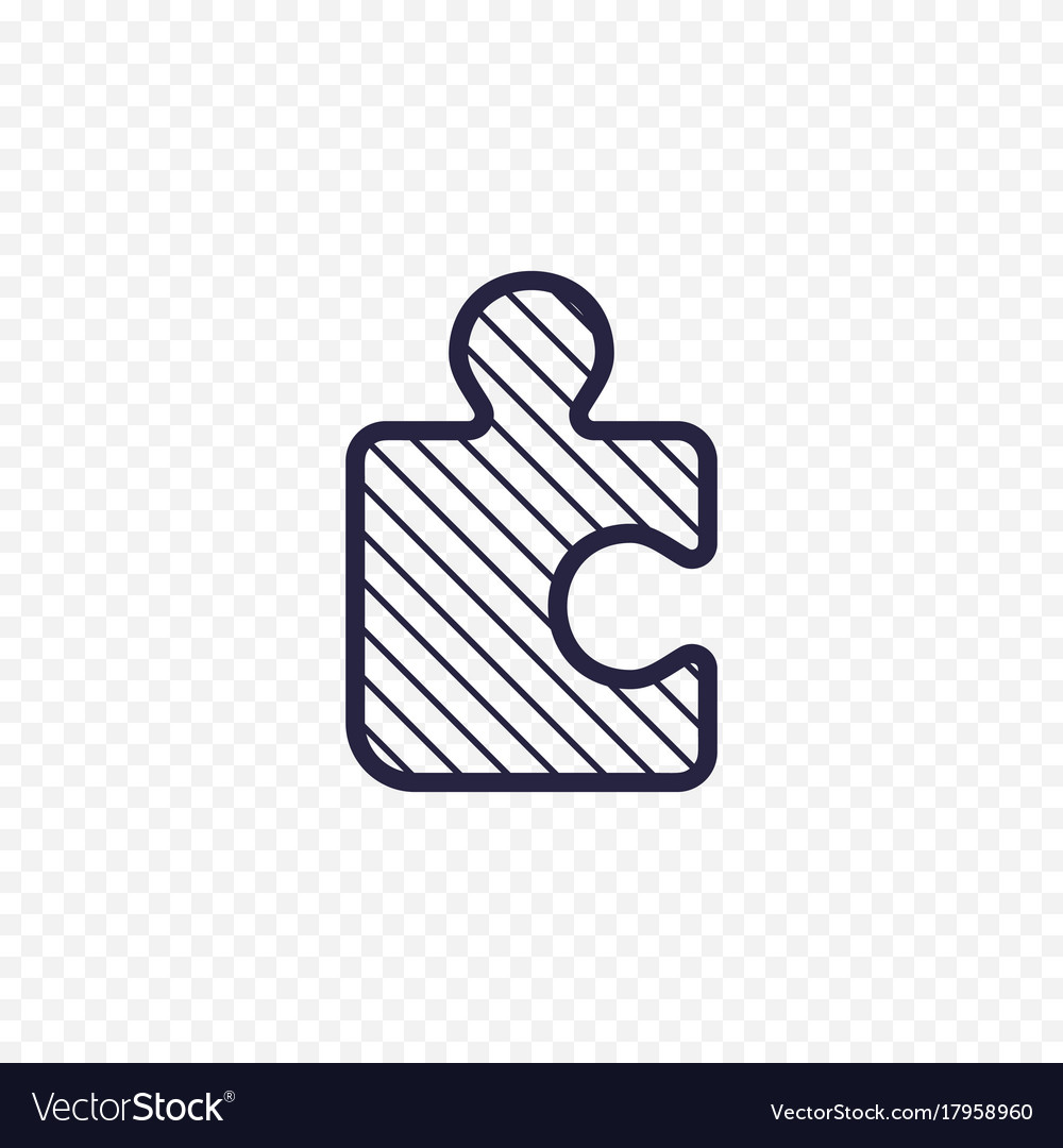 Puzzle game line icon jigsaw piece thin linear vector image