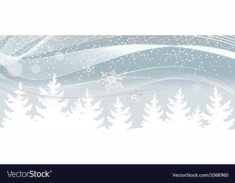 Snow falls on the white Christmas tree vector image