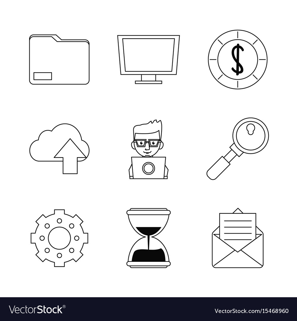 White background with monochrome marketing icons vector image