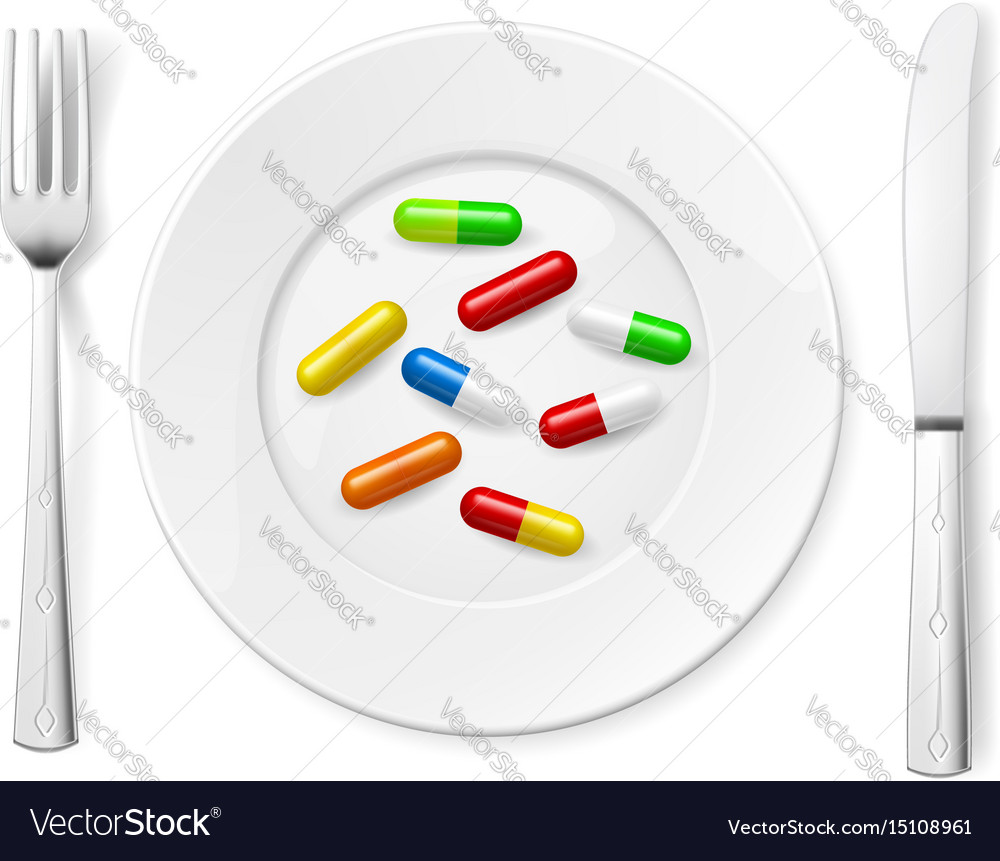 Medical pills on white plate with knife and spoon vector image