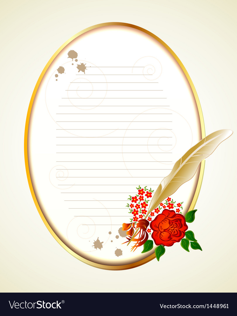 Paper feather and rose background vector image