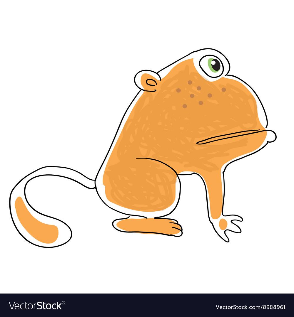Retro cartoon waving monkey vector image