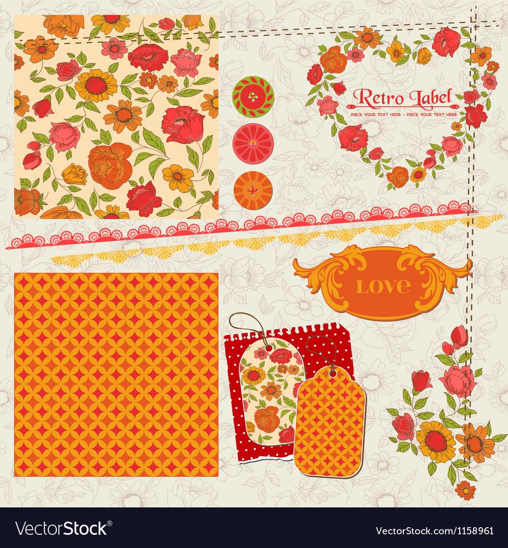 Scrapbook Design Elements - Orange Flowers vector image