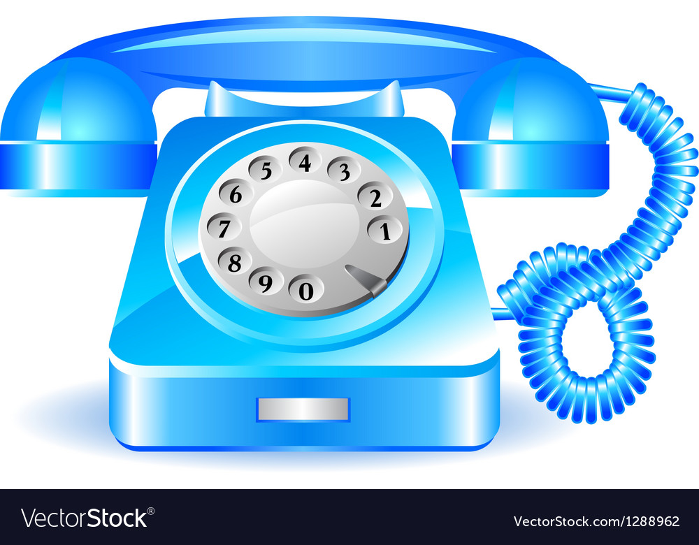 Retro blue telephone vector image