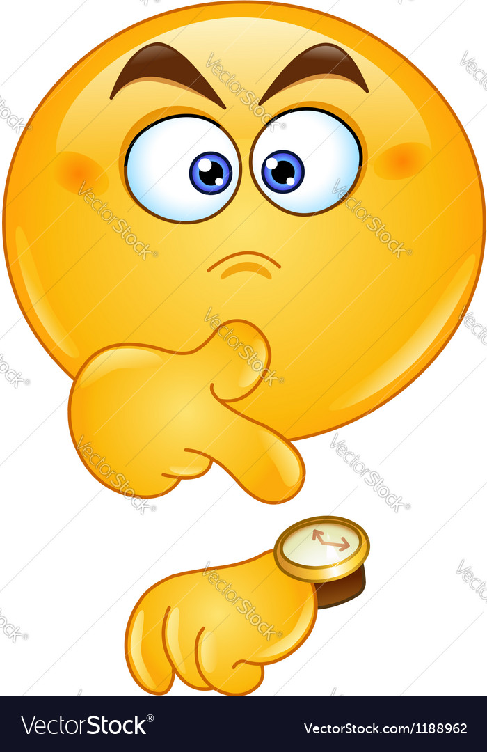 Pointing at watch emoticon vector image