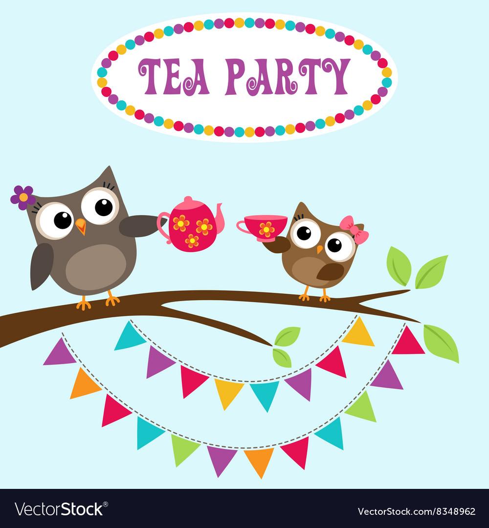 Tea party invitation with cute owls royalty free vector tea party invitation with cute owls vector image stopboris Choice Image