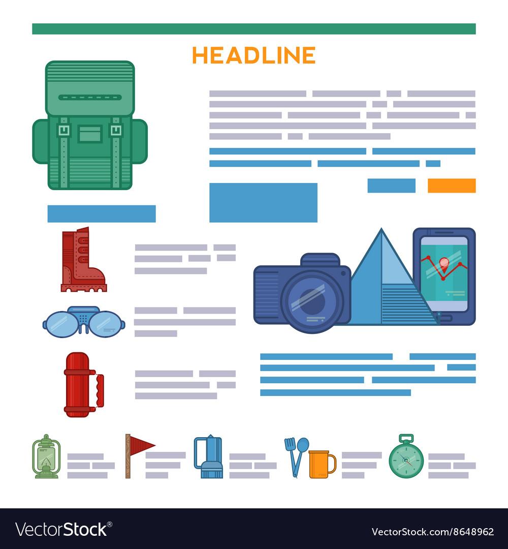 Tourism brochure design elements vector image