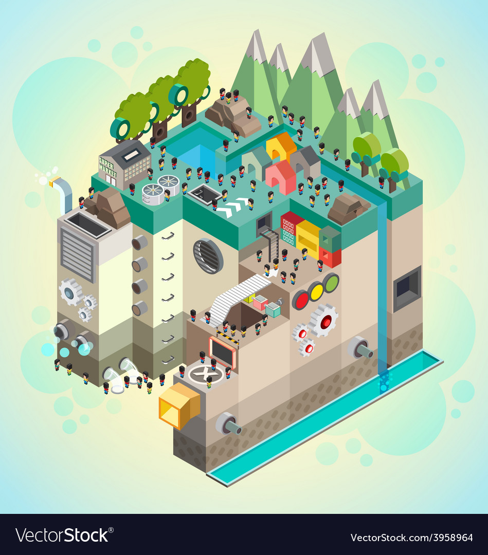 Flat 3d isometric board game with city building vector image for 3d house building games online