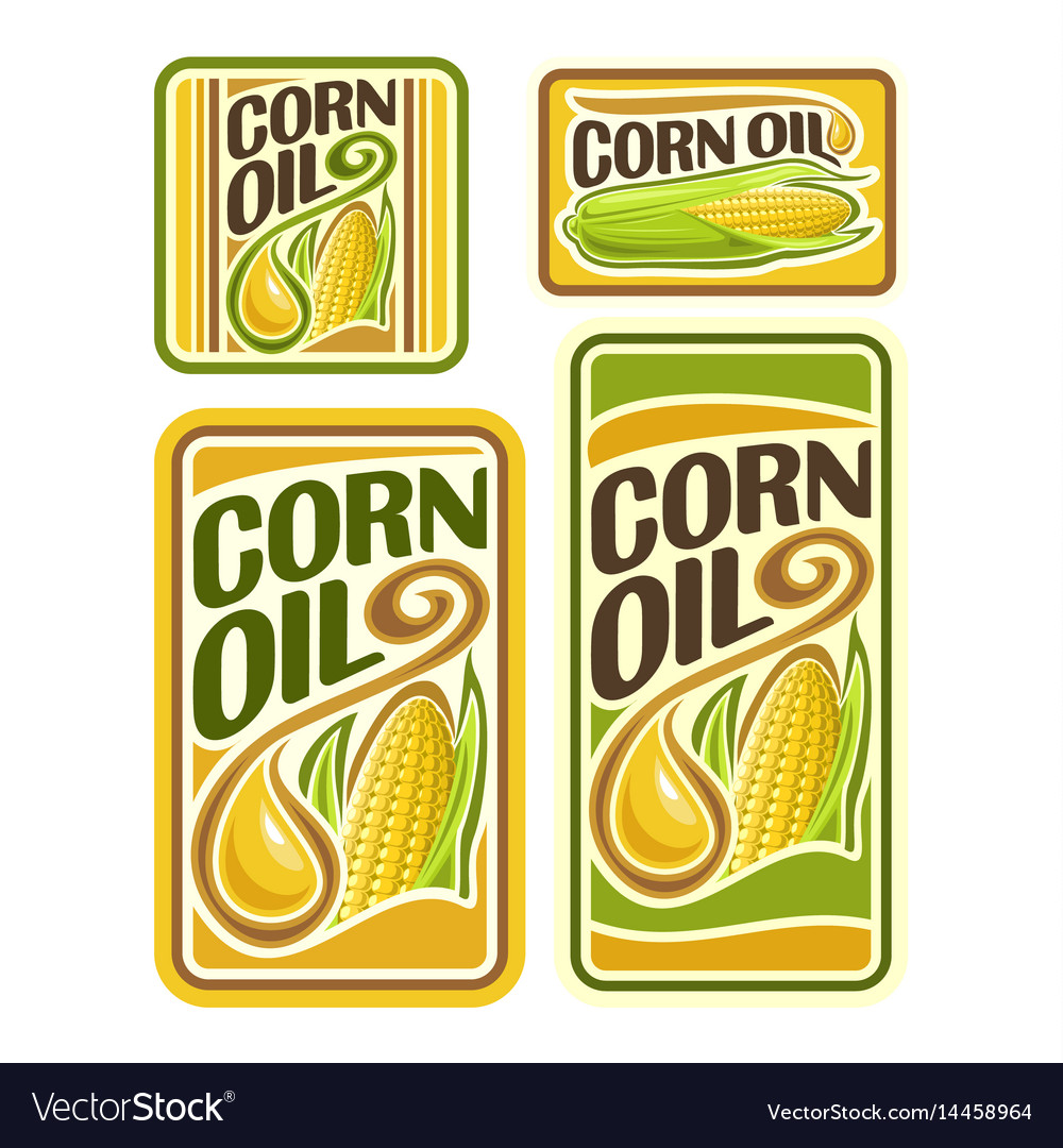 Set labels for cooking corn oil vector image