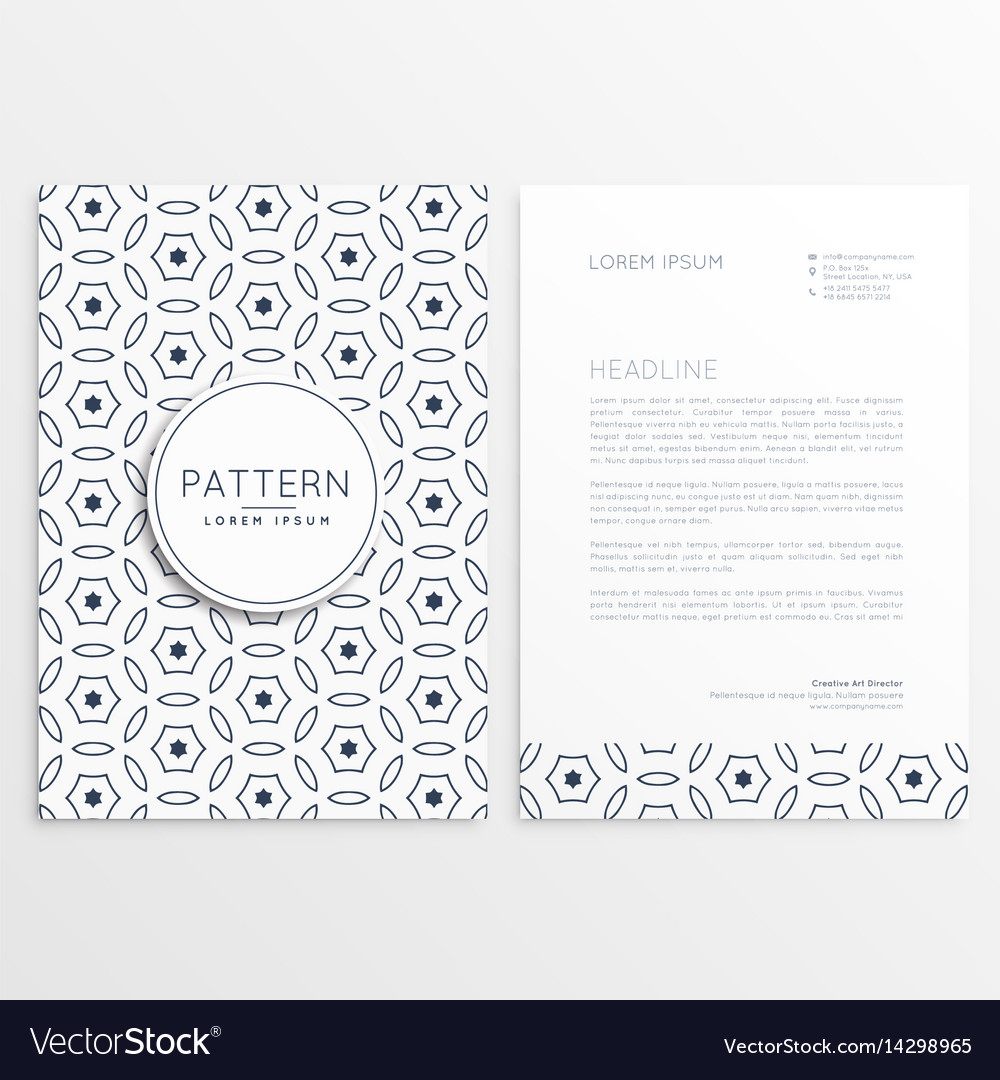 Minimal elegant letterhead design with front and vector image