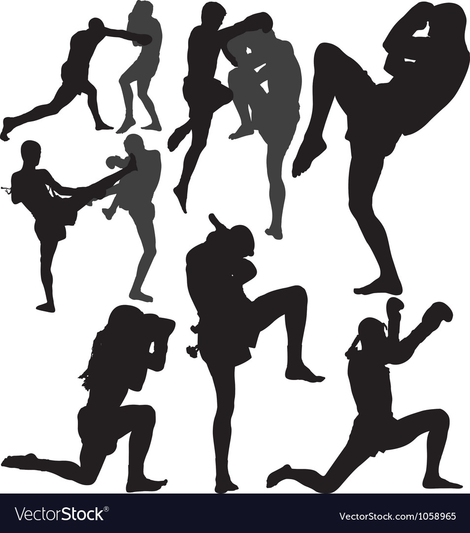 Muay Thai fighters silhouette vector image