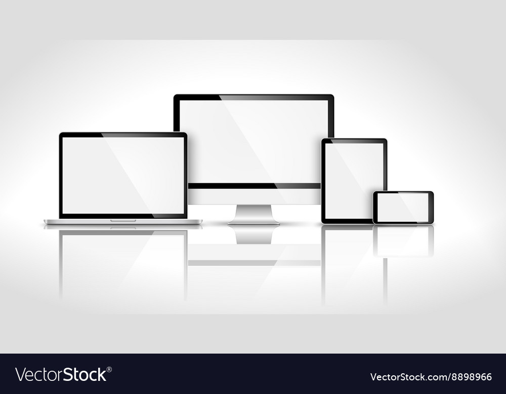 Modern device with reflection vector image