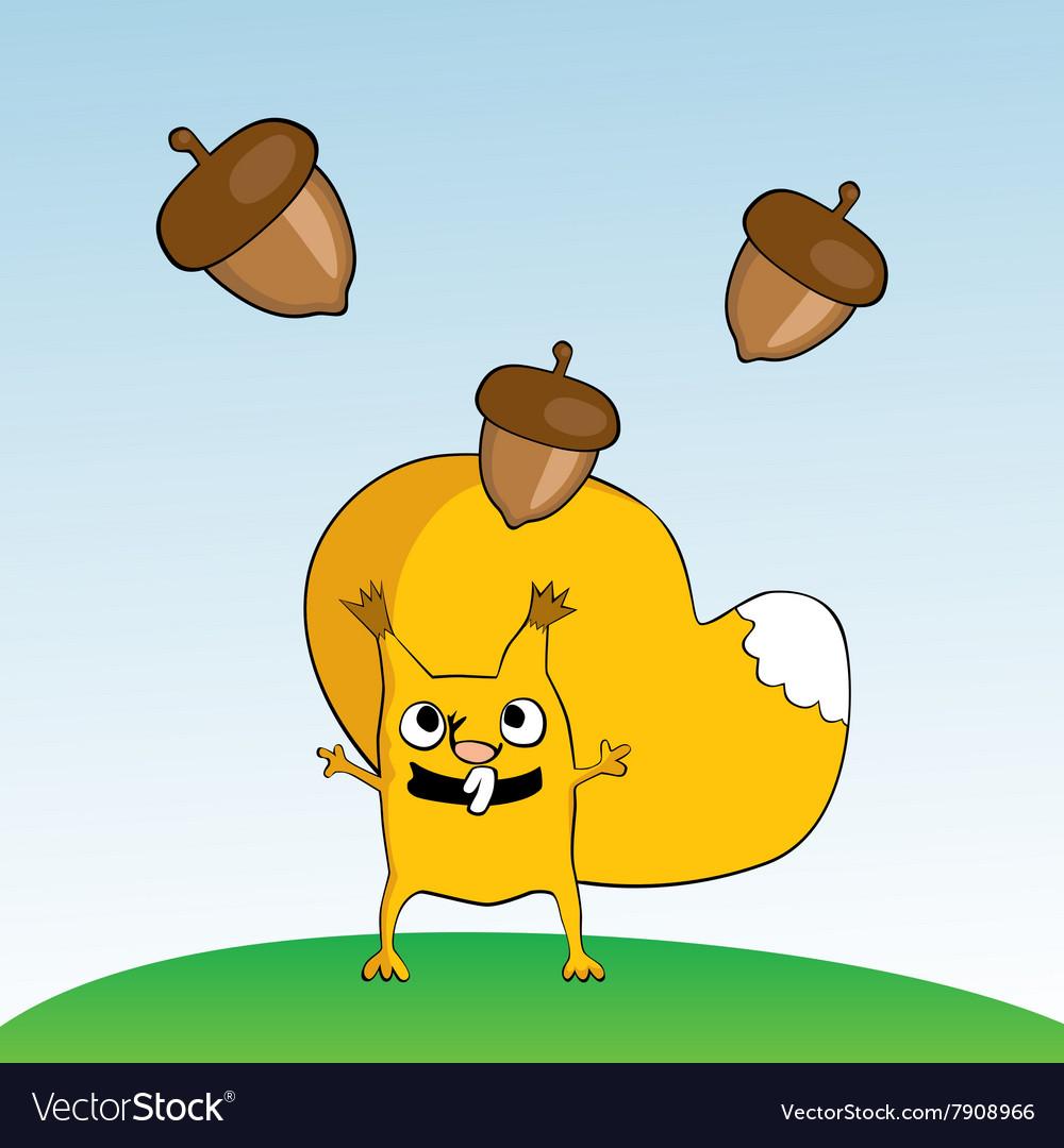 Squirrel and acorn nut vector image
