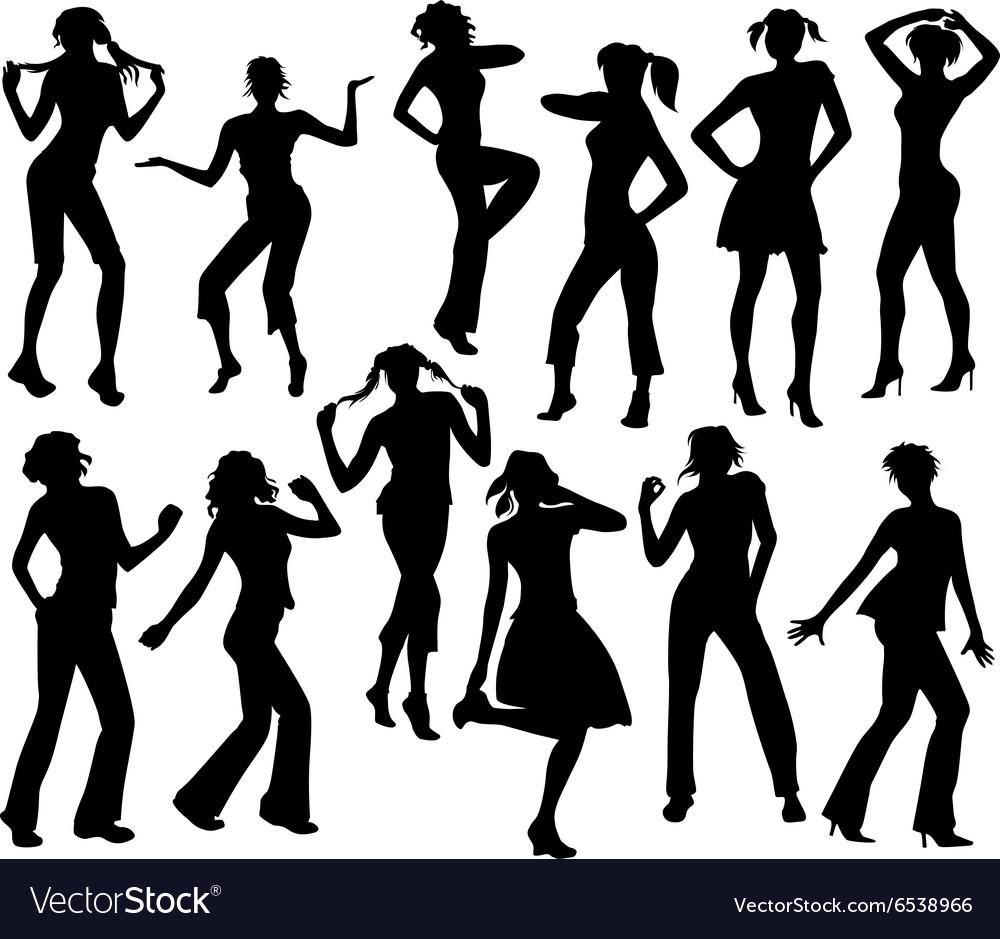 Twelve silhouettes of dancing girls vector image