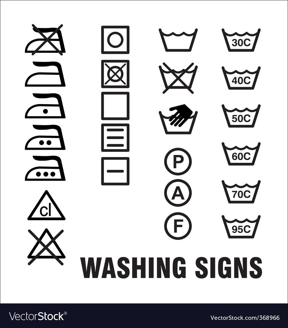 Washing signs vector image