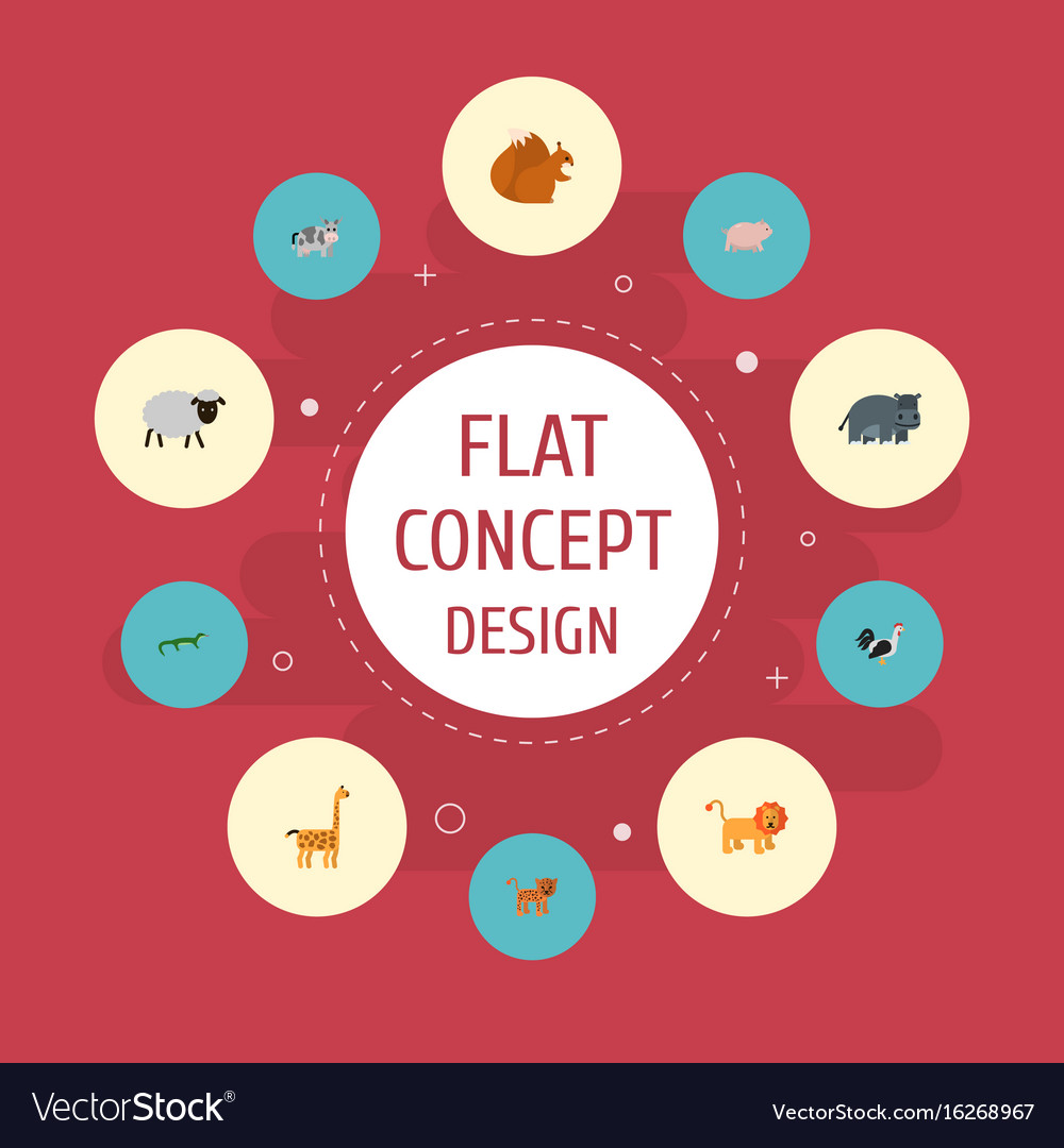 Flat icons hippopotamus kine swine and other vector image