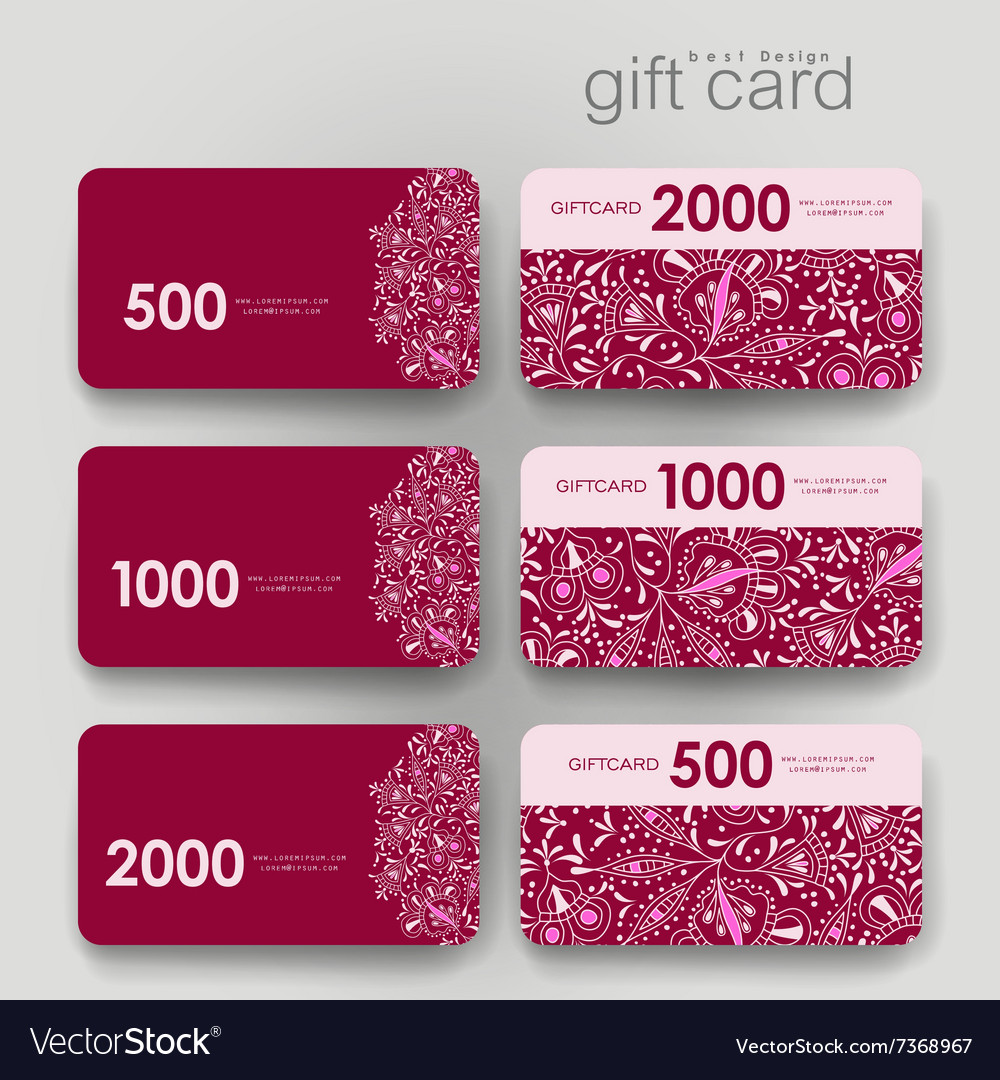 Gift coupon discount card template with floral Vector Image